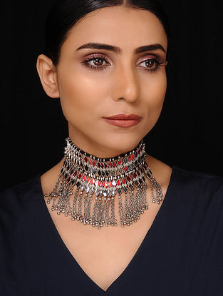 Red Silver Tone Tribal Necklace