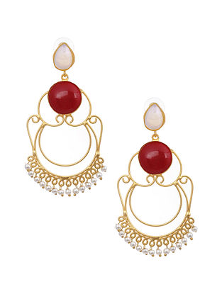 Red Blue Gold Tone Earrings with Pearls