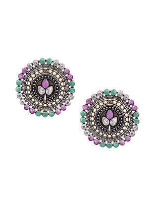 Pink Green Silver Tone Tribal Earrings