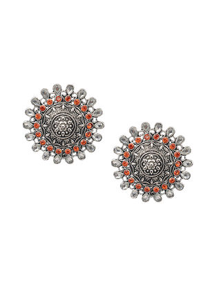 Orange Silver Tone Tribal Earrings