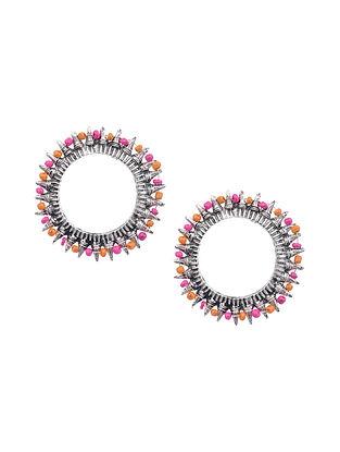 Orange Pink Silver Tone Tribal Earrings