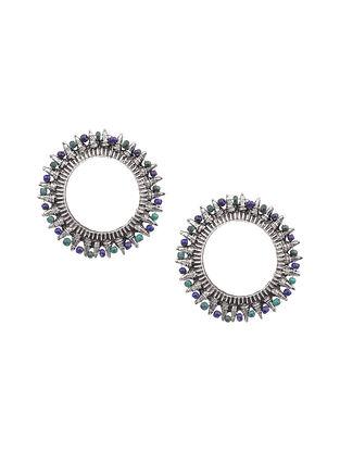 Green Blue Silver Tone Tribal Earrings