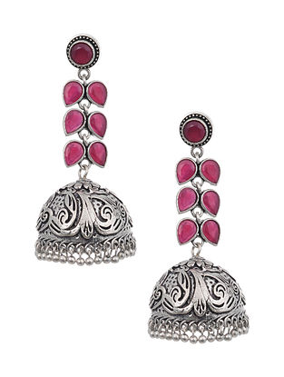 Red Silver Tone Earrings