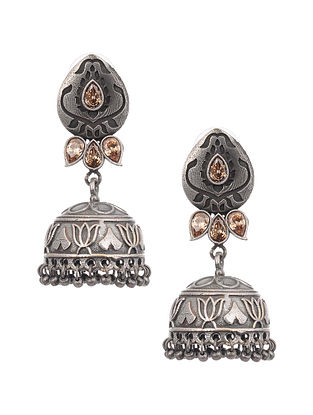 Brown Silver Tone Tribal Earrings