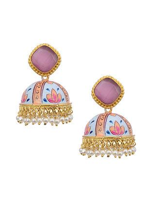 Multicolored Gold Tone Enameled Earrings