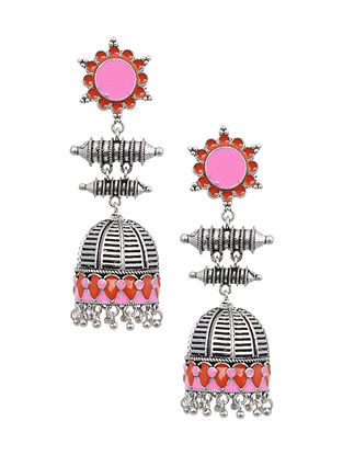 Pink Red Silver Tone Tribal Earrings