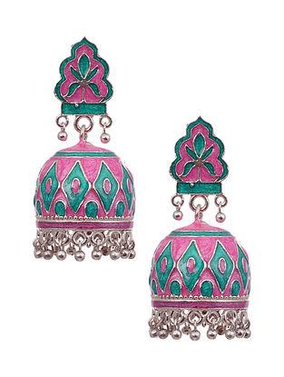 Pink Blue Silver Tone Enameled Earrings