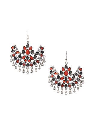Orange Silver Tone Tribal Earrings