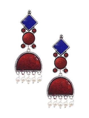 Blue Red Silver Tone Earrings