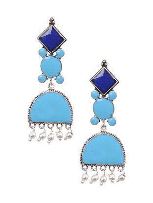 Blue Silver Tone Earrings