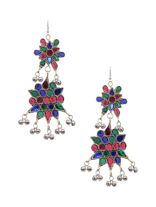 Multicolored Silver Tone Tribal Earrings