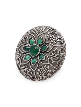 Green Silver Tone Tribal Ring