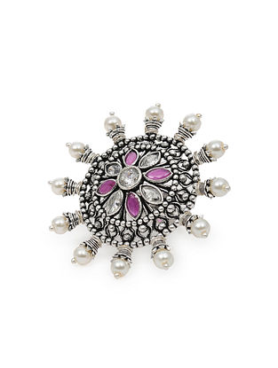 Pink Silver Tone Tribal Ring with Pearls