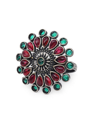 Red Green Silver Tone Tribal Ring