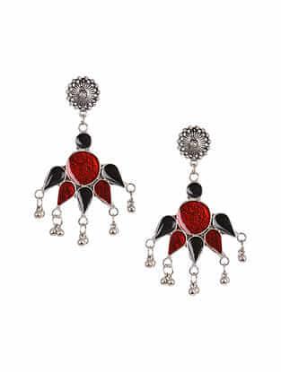 Red Black Silver Tone Enameled Tribal Earrings