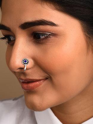 Blue Silver Tone Tribal Nose Clip