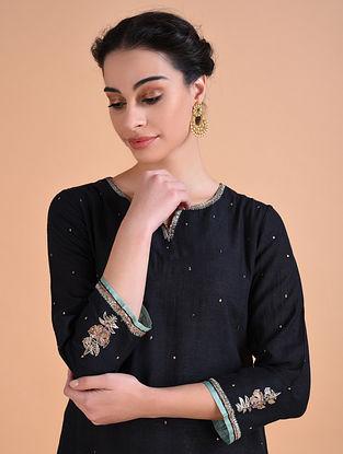 MANDOVI - Black Hand Embroidered Silk Noil Kurta