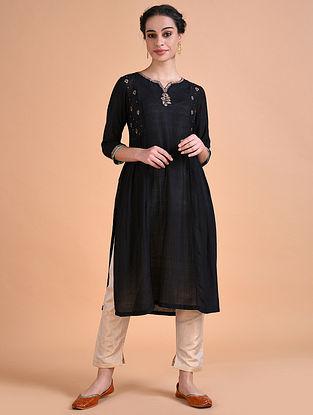 HARSITA - Black Hand Embroidered Silk Noil Kurta