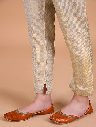 MIHIKA - Beige Tie Up Waist Silk Brocade Pant