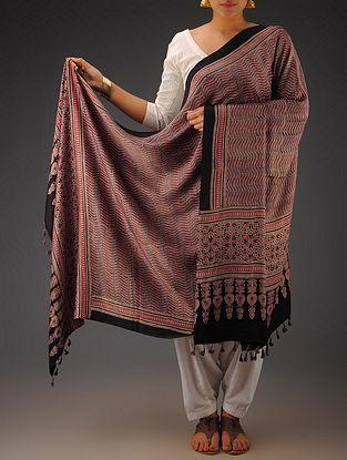 Maroon-Black Gajji Silk Ajrakh Printed Dupatta By Jaypore