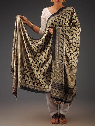 Beige-Black Gajji Silk Ajrakh Printed Dupatta By Jaypore