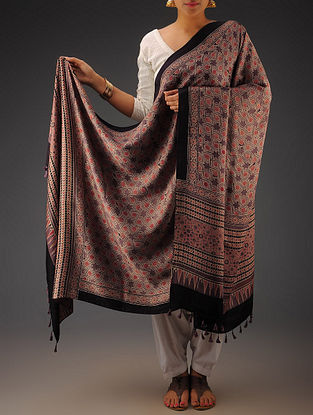 Red-Purple Gajji Silk Ajrakh Printed Dupatta By Jaypore