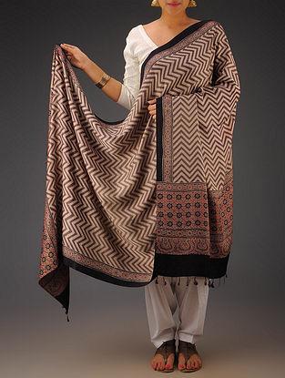 Purple-Beige Gajji Silk Ajrakh Printed Dupatta By Jaypore