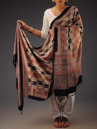 Black-Beige-Maroon Gajji Silk Ajrakh Printed Dupatta By Jaypore