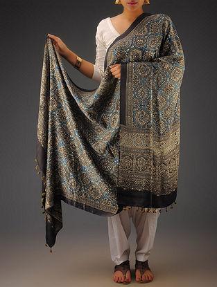 Black-Indigo Gajji Silk Ajrakh Printed Dupatta By Jaypore