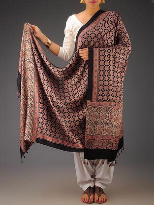 Black-Maroon Gajji Silk Ajrakh Printed Dupatta By Jaypore