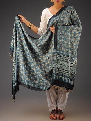 Indigo-Olive Gajji Silk Ajrakh Printed Dupatta By Jaypore