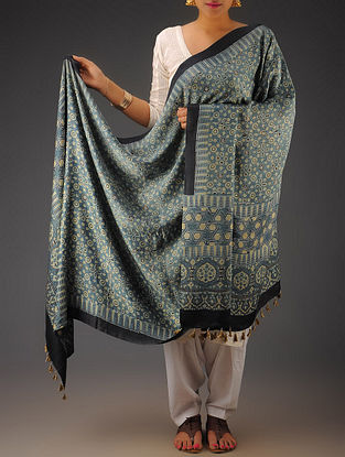 Indigo-Navy Gajji Silk Ajrakh Printed Dupatta By Jaypore