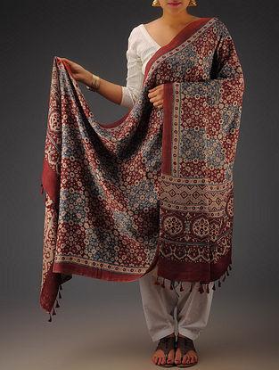 Maroon-Beige-Indigo Gajji Silk Ajrakh Printed Dupatta By Jaypore