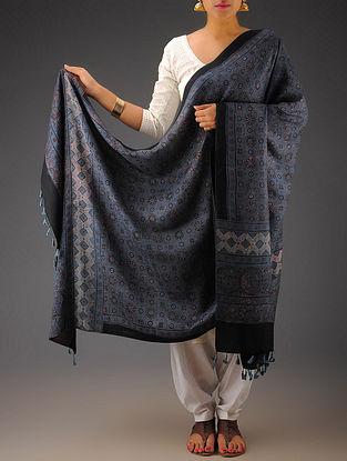 Blue-Maroon Gajji Silk Ajrakh Printed Dupatta By Jaypore