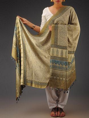 Beige-Indigo Gajji Silk Ajrakh Printed Dupatta By Jaypore