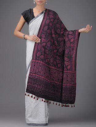 7c43c965ff Black-Pink Ajrak printed Quilted Reversible Wool-Silk Shawl by Jaypore