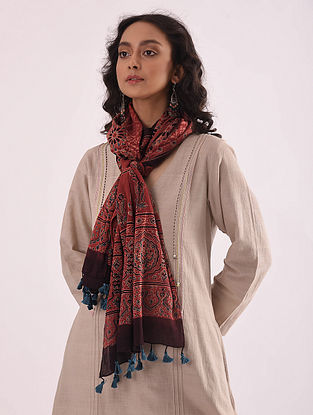 Red-Blue Ajrakh-printed Mulmul Stole