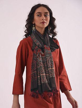 Black-Red Ajrakh-printed Modal Stole