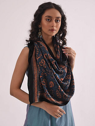 Blue-Red Ajrakh-printed Modal Stole