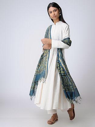 Indigo-Mustard Ajrakh Silk Cotton Dupatta