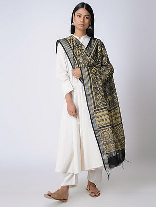 Mustard-Brown Ajrakh Silk Cotton Dupatta