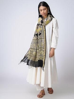Mustard-Grey Ajrakh Silk Cotton Dupatta