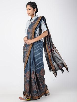 Madder-Indigo Ajrakh-printed Linen Saree