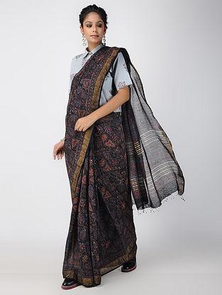 Multicolor Ajrakh-printed Linen Saree