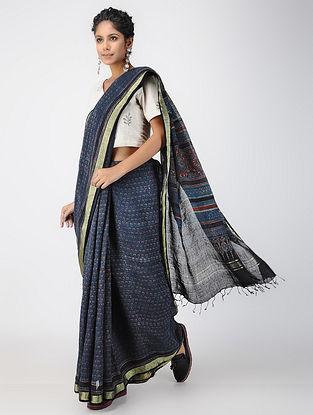Indigo-Black Ajrakh-printed Linen Saree