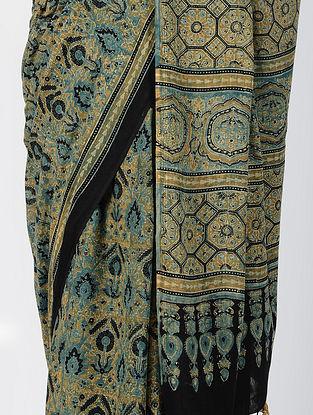 Mustard-Black Ajrakh-printed Cotton Mul Saree with Tassels