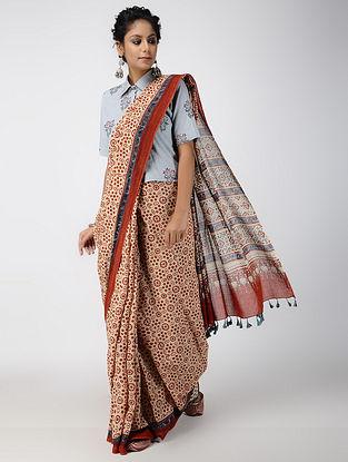 Madder Ajrakh-printed Cotton Mul Saree with Tassels