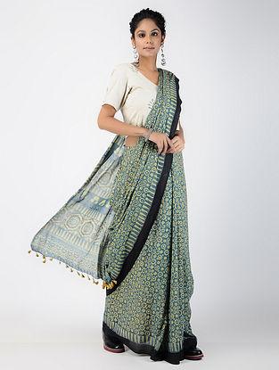 Indigo-Black Ajrakh-printed Cotton Mul Saree with Tassels