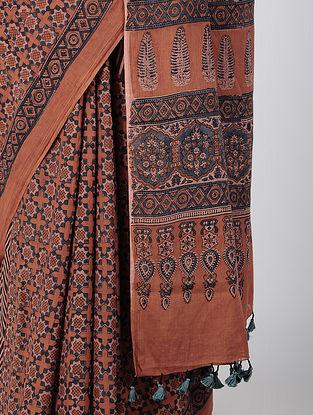 Madder-Indigo Ajrakh-printed Cotton Mul Saree with Tassels
