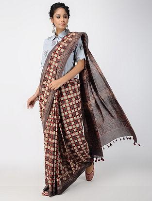 Madder-Beige Ajrakh-printed Cotton Mul Saree with Tassels